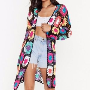 Nasty Gal floral crochet cardigan